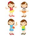 4 girls vector image vector image