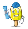 architect lemon ice cream character cartoon vector image