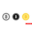 bitcoin icon 3 types isolated sign vector image vector image