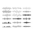 black musical sound waves audio frequencies vector image