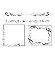 black wavy design elements - set vector image vector image