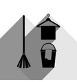 broom bucket and hanger sign black icon vector image vector image