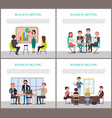 business meeting of office workers staff poster vector image vector image