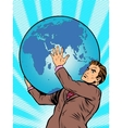 businessman titan atlas holds earth vector image vector image