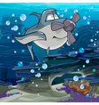 cartoon fish shark with a propeller swimming vector image vector image
