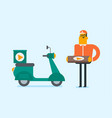 caucasian man delivering pizza on scooter vector image vector image