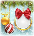 Christmas Background with Pine Branches Frame and vector image