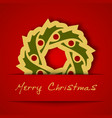 Christmas gold garland applique on red background vector image vector image