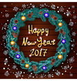 Christmas happy new year 2017 wreath background vector image vector image