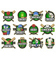 cricket sport game and club icons vector image vector image