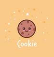 cute chip cookies cartoon comic character with vector image