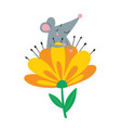 cute rat in flower vector image