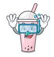 diving raspberry bubble tea character cartoon vector image vector image