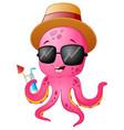 funny cartoon octopus summertime vector image