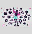 girl chatting social media people activity woman vector image vector image