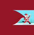 happy santa claus with gift bag at outdoor vector image