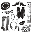 Hipster Woman Clothing and Accessories Collection vector image