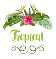 Invitation card with tropical leaves and flowers vector image vector image