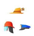 isolated object of headgear and cap logo vector image