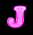 J letter pink bling girly vector image vector image