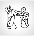 krav maga silhouettes two abstract fighters vector image