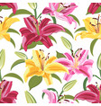 lily flower seamless pattern on white background vector image vector image
