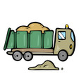 lorry on white background cute cartoon transport vector image vector image