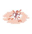 man breaking the brick wall vector image