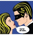 Man in black superhero mask and woman love couple vector image vector image