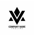 mountain triangle letter v and a logo symbol vector image vector image