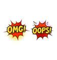 omg oops in pop art retro comic style cartoon vector image vector image