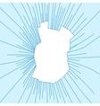 Radial cracks on broken blue glass vector image vector image
