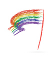 Rainbow flag on white vector image vector image