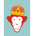 Red Monkey in Imperial Crown Chimpanzee head is a vector image