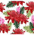 red torch ginger seamless pattern with tropical vector image