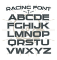 Sans serif font in retro racing style vector image vector image