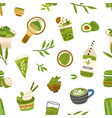 seamless pattern with green matcha leaves food vector image