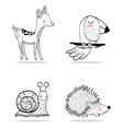set cute wild animals character vector image vector image