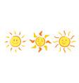 set handdrawn cheerful smiling summer icons vector image vector image