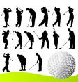 set of golf player vector image vector image