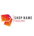 shop name tag line design red tag background vector image