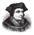 sir thomas more face after holbein vintage vector image vector image