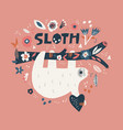 sloth cartoon hand drawn vector image