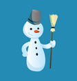 snowman holds a broom in his hand with top hat vector image vector image