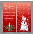Snowman in red hat on a red background of snow vector image vector image