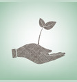 sprout in a hand sign of environmental protection vector image