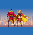 superhero couple standing tall in city vector image