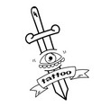 tattoo ribbon sword the eye background imag vector image