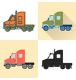 tractor truck icon set in flat and line styles vector image