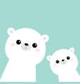 two white bear face head icon set cute kawaii vector image vector image